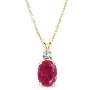 Jewelry - Yellow gold 14k Red ruby with diamonds 8.50 carats